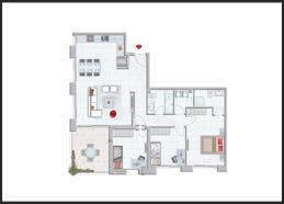 תוכנית דירה צבועה 4 חדרים מרפסת גן