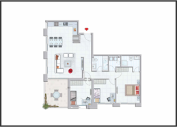 תוכנית דירה צבועה 4 חדרים קומה 5