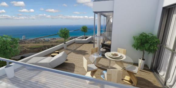 הדמיה של המרפסת והנוף- מגדלי אפגד