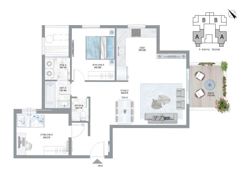 תוכנית דירה בצבע עיר היין דגם A הגרלה 477