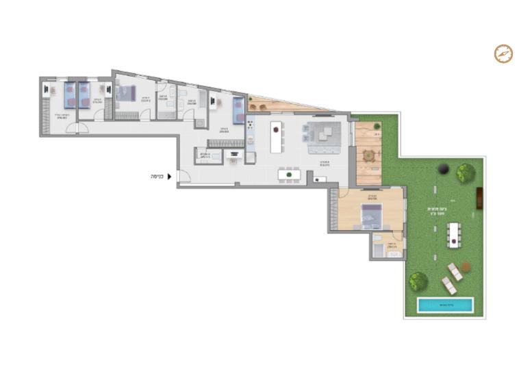 תוכנית דירה צבועה רמבם דירת גן- 5 חדרים