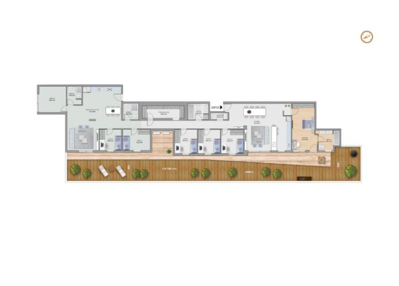 תוכנית דירה צבועה רמבם- דירת גן 6 חדרים