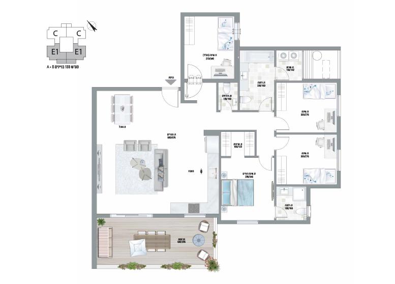 תוכנית דירה צבועה עיר היין דגם E1-AB