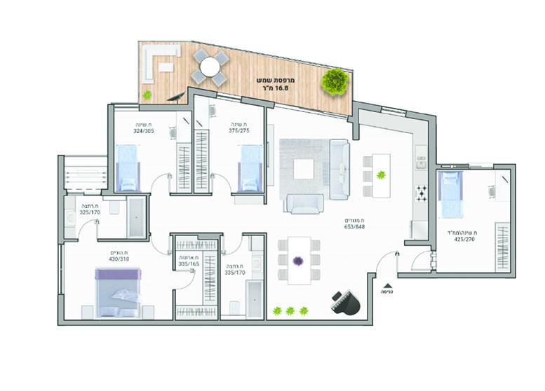 תוכנית דירה צבעונית דגם A03 רמבם 10