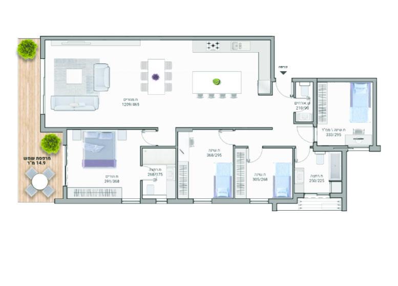 תוכנית דירה צבעונית דגם A04- רמבם 10 רמת השרון