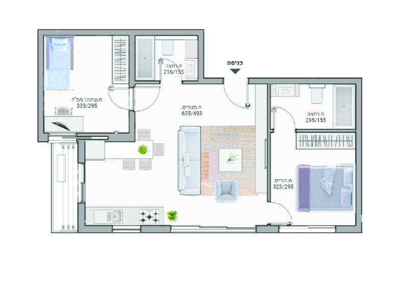 תוכנית דירה צבעונית דגם A07 רמבם 10