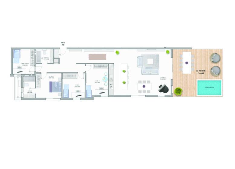 תוכנית דירה צבועה דגם A16 רמבם 10