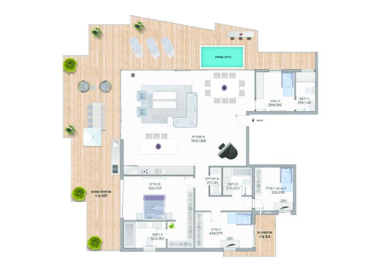 תוכנית דירה צבועה פנטהאוז A29 רמבם 10