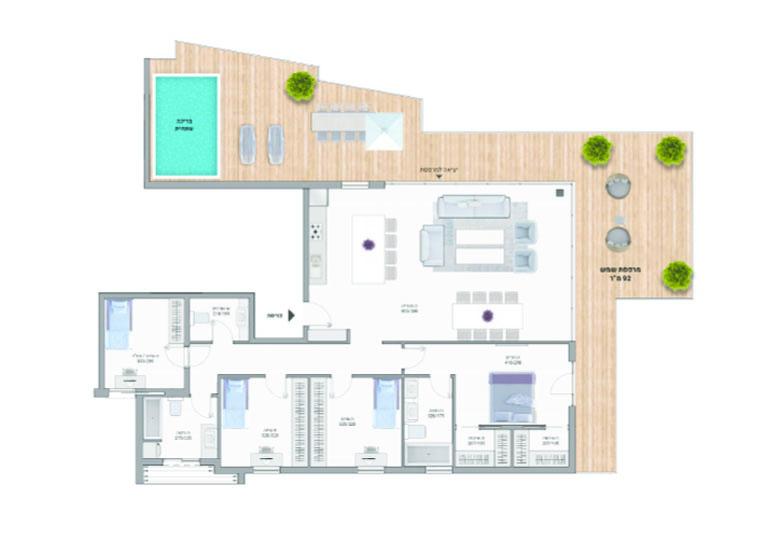 תוכנית דירה צבעונית פנטהאוז A30 רמבם 10