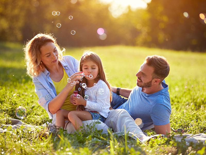 תמונת אווירה של משפחה יושבת על הדשא