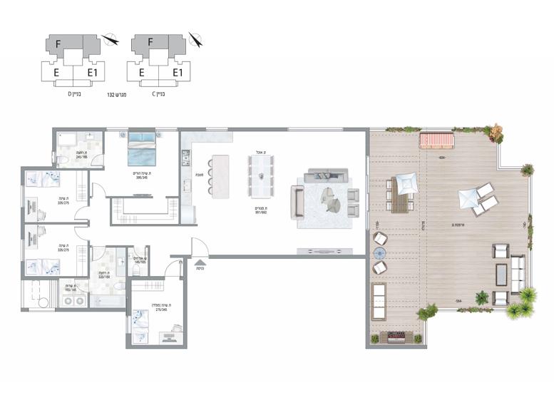 תוכנית דירה צבועה עיר היין דגם F