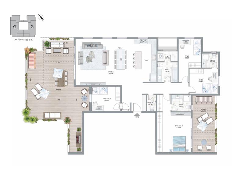 תוכנית דירה צבועה עיר היין דגם G