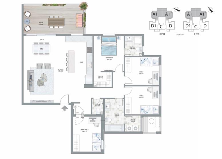 תוכנית דירה צבועה עיר היין דגם A1