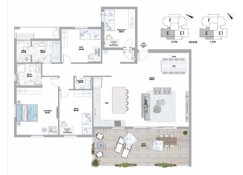 תוכנית דירה צבועה עיר היין דגם E