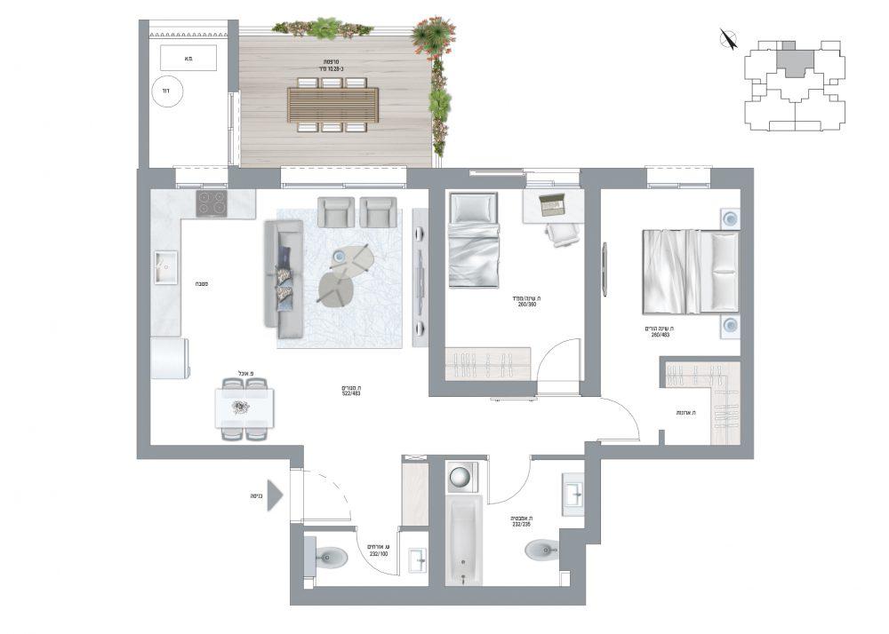 תוכנית דירה- בריזה דגם B שלושה חדרים