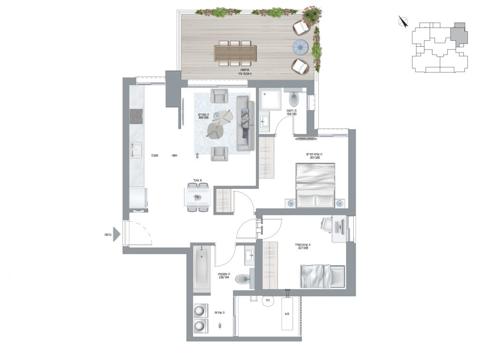תוכנית דירה בריזה דגם C - שלושה חדרים