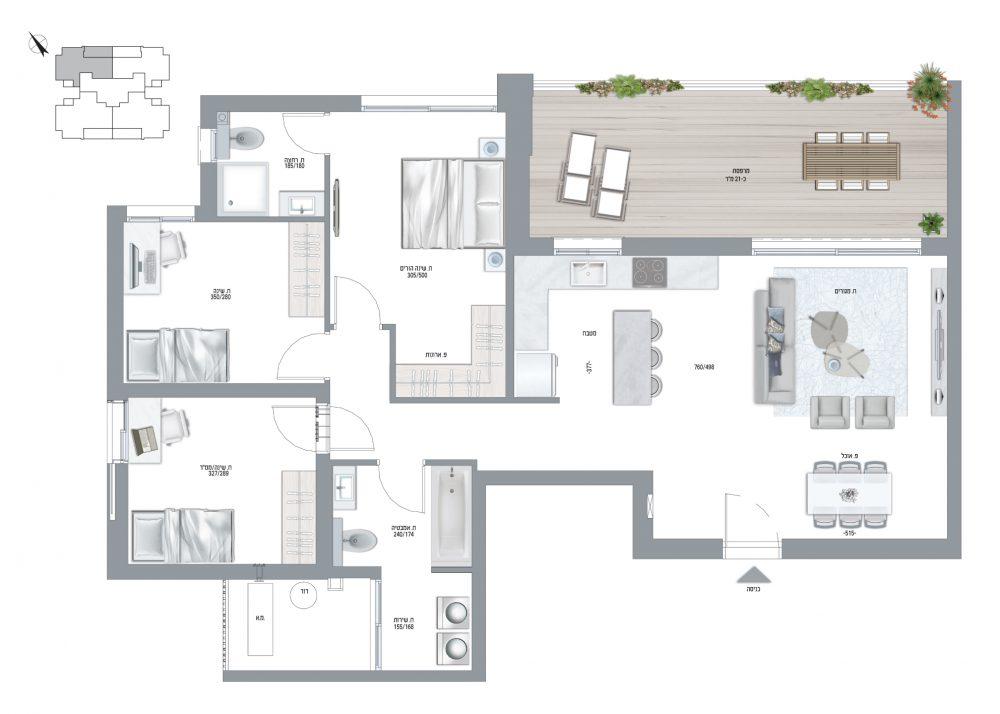 תוכנית דירה דגם E 4 חדרים