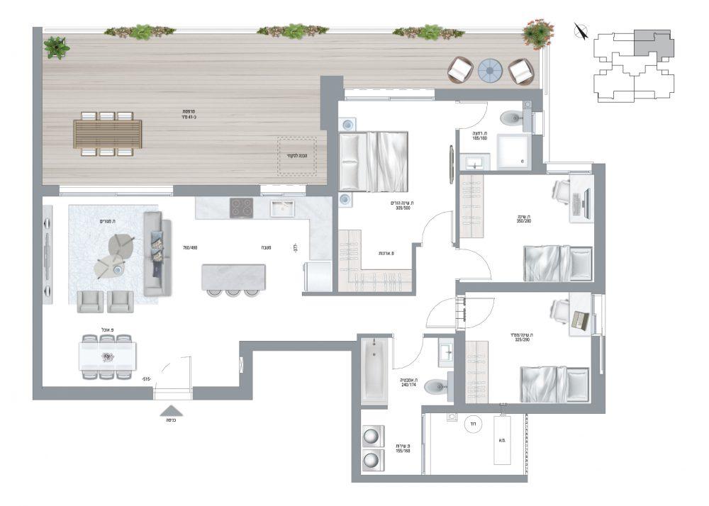 תוכנית דירה דגם F 4 חדרים