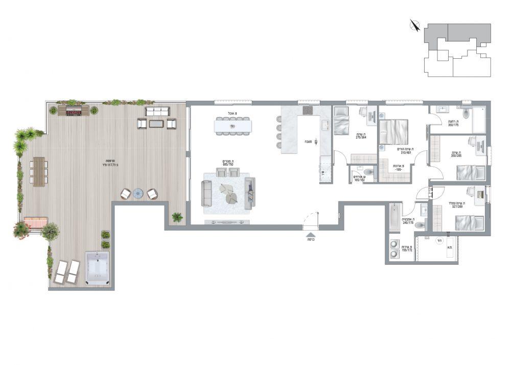 תוכנית דירה פנטהאוז 5 חדרים דגם H