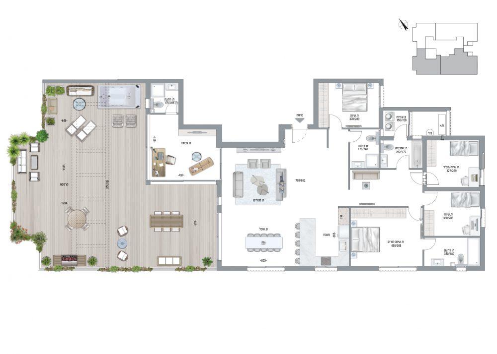 פנטהאוז 6 חדרים - דגם J תוכנית דירה
