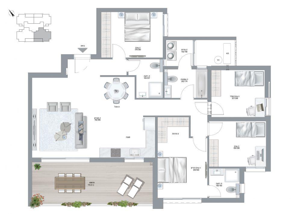 תוכנית דירה דגם M - 5 חדרים