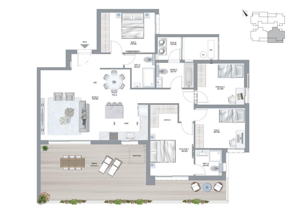 תוכנית דירה בריזה דגם N - 5 חדרים