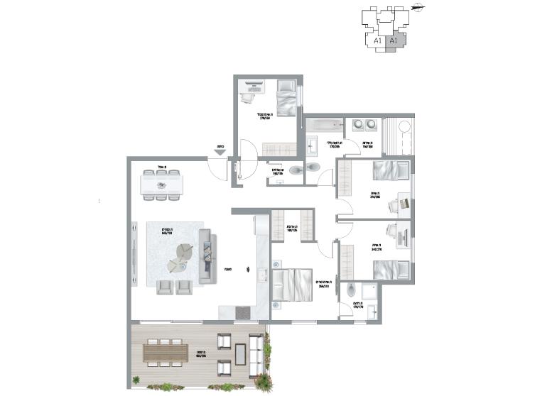 תוכנית דירה צבועה אגמים A1