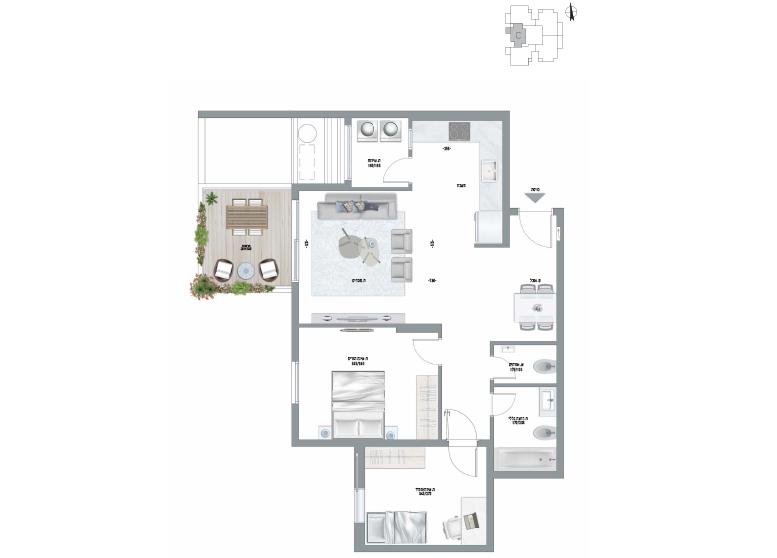 תוכנית דירה צבועה אגמים דגם Y1