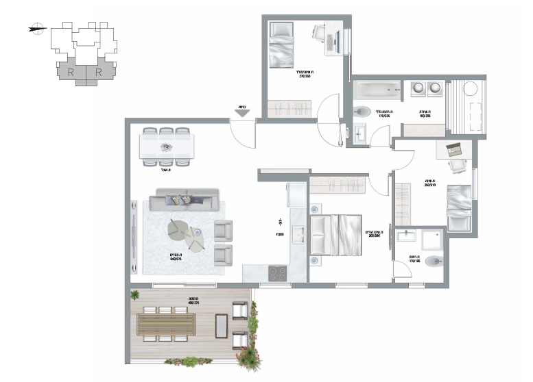 תוכנית דירה צבועה אגמים דגם R