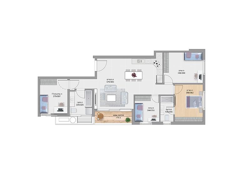 תוכנית דירה צבועה השר משה דגם E1