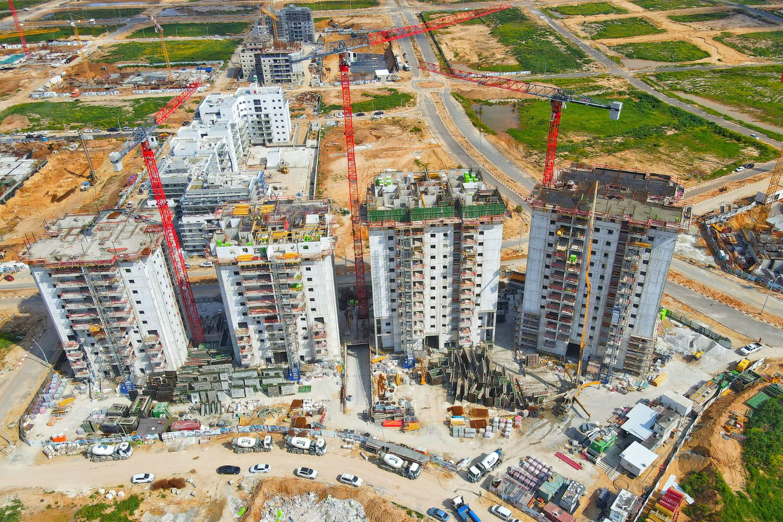צילום תהליך בנייה מגדלים עיר היין, אפגד - דירות חדשות למכירה באשקלון
